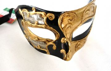 Genuine Venetian Black & Gold Leaf Mask